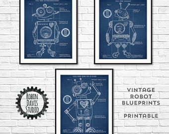 Robot Blueprints 11x14, Robot Patent, Toy Robot blueprints, Encouragement for kids, Robot Room, Technical robot drawing, Robin Davis Studio
