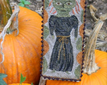 Little Green Witch - primsical punch needle PATTERN - from ©Notforgotten Farm