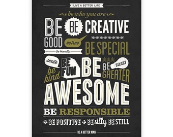 Motivational Print, Be Kind Be Awesome, Be Still, Office Decor, Black Retro Wall Art, Words Of Wisdom, Motivational Wall Art, Typography