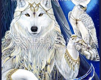 White Angel Wolf and Falcon Banner