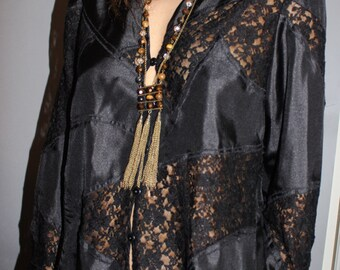 Vintage Sheer Chiffon Black  Top/ Boho Hippie Shabby Chic/ Tunic  Top lacr Shirt/  Medium