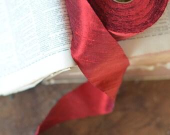 """dark red dupioni 2"""" wide silk ribbon"""