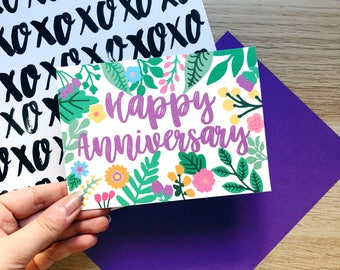 Happy Anniversary Card, Love Card, Anniversary, Colourful Card, Anniversary Gift, Floral Card, Mr and Mrs, Wife Anniversary, Girlfriend Card