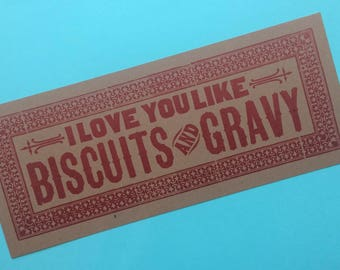I Love You Like BISCUITS and GRAVY letterpress poster Red kitchen decor gifts for chefs breakfast art restaurant diner art print