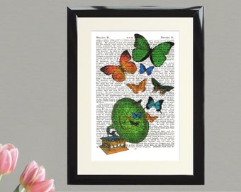 Dictionary Art Print Butterflies and Gramophone Framed Vintage Poster Picture Handmade Original Artwork Book Page Home Decor Gift