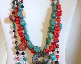 Two Turquoise Coral Necklace SIlver & Glass Beads Boho Southwestern Necklace T2VZ