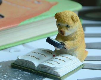 5.5*4*4.5cm Realistic Fairy Garden Resin Reading Bear