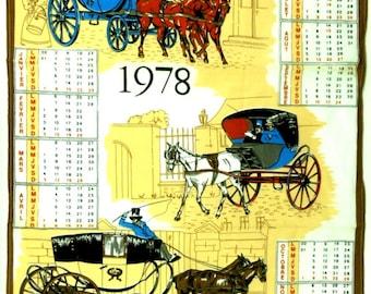 French Vintage 1978 Tea Towel Calendar, Vintage French Kitchen Decor, French Kitchen Towel Calendar