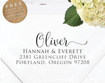 Custom Address Stamp, Self Inking Return Address Stamp, DIY Wedding address stamp, Calligraphy Stamp, Wedding Custom Stamp  - Oliver