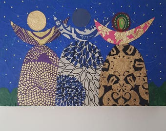 "Feminist, Girl Power ""Tribe"" Multi-media Painting"