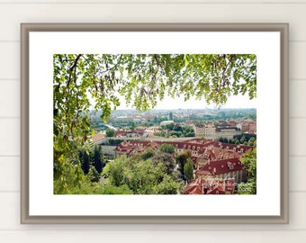 Prague photograph, Castle, rooftop, red, travel, foliage, green, large wall art, vista, wanderlust, woodlands, Christmas for home, oversized