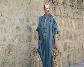 ANAIS linen dress. Steel blue striped, ONE SIZE, caftan for women. Pure soft linen. Oversized,Loose fit.