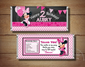 Printable Chalkboard Minnie Mouse Birthday Candy Bar Wrapper, Black Pink Polka Dots Minnie Mouse Candy Bar Wrapper, Printable Candy Wraps