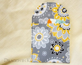 Floral Pouch with Metal Snap - Yellow and Grey Fabric Case for Book Weight, Computer Mouse, Other Accessories, bright modern flowers
