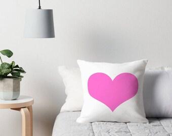 Pink Heart Pillow, Pink Decorative Pillow, Pink Heart Print, Pink Throw Pillow, Pink and White Pillow, Pink Heart Decor, Pink Heart Pillows