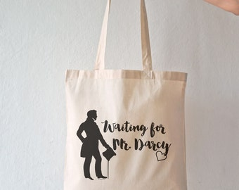 Waiting for Mr. Darcy quote tote bag-Mr. Darcy tote-Literature bag-custom tote-quote tote bag-Jane Austen tote bag-by NATURA PICTA NPTB014