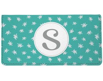 Teal Monogram Checkbook Cover Stars Design