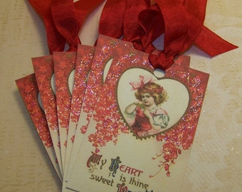 Valentine Tags Valentine Party Favors Gift Vintage Style Set of 6 or 9