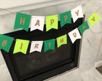 Green birthday banner, st patricks day banner, Stylish birthday banner, custom birthday banner, green and gold banner, st patricks decor