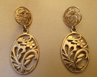 Rare delicate floral cut out statement earrings