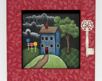 Blue House, Decorative Key, Framed in Reclaimed Pine Wood, Green Tree, Colorful Flowers, Hand or Tole Painted, Home Sign, Red Heart,Folk Art