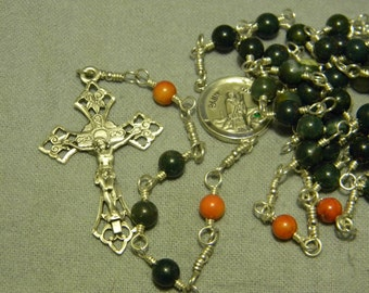 Handmade Bloodstone, Coral, & Sterling Silver Rosary