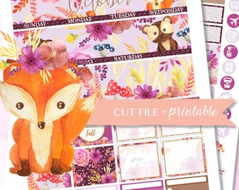 OCTOBER MONTHLY KIT Printable, Monthly Planner Kit, Fall Planner sticker, Fall Planner Kit, printable planner sticker, monthly view for ec