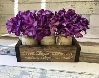 "Gift For Teacher   Teacher Appreciation Gift   Principal Retirement   Teacher Retirement   ""Personalized Planter Box w/ Jars"""