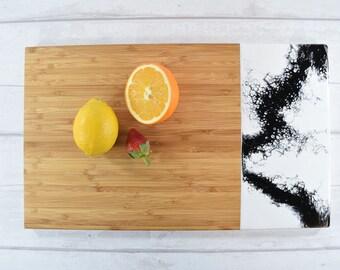 White and Black Cutting Board - Monochrome Chopping Board - Black White Cheese Board - Classic Rustic Kitchen Decor -Unique Gifts for Mom