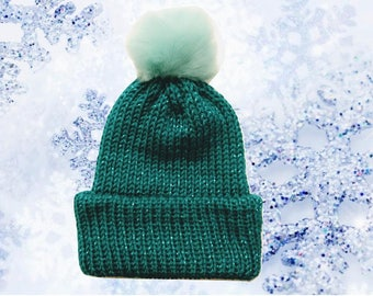 Youth - Adult Emerald and Sparkle Knit Hat with Faux Fur Pom Pom