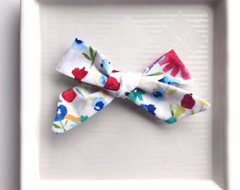 CLEARAMCE! Watercolor Floral Hand Tied Bow - Baby Girl Nylon Headband - Girls Fabric Bow - Newborn Bow - Floral Bow - Floral Headband