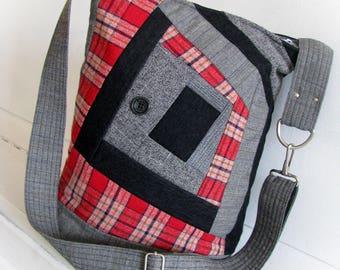 Patchwork messenger bag Textile crossbody bag Quilting handbag Shoulder  bag Vegan sewing gift Unique designer bag, OOAK bag