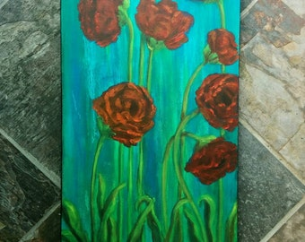 Original Acrylic Painting on Canvas - Red Poppies - 12x24 inches