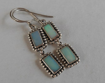 Balinese Silver Opal dangle earrings / silver 925 / Bali handmade jewelry / 1.75 inch long / (#72K)
