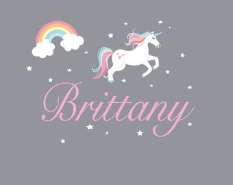 Rainbow and Unicorn Wall Decal- Wall Decals-Nursery Wall Decals-Kids Wall Art-Children's Wall Decals-Unicorn-Rainbow-Star-Decals-e178
