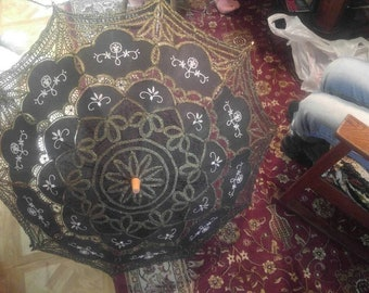 """Vintage LARGE Parasol Umbrella Golden Threaded Brown Filigree Fabric and Embroidery 40"""" Wood Handle"""