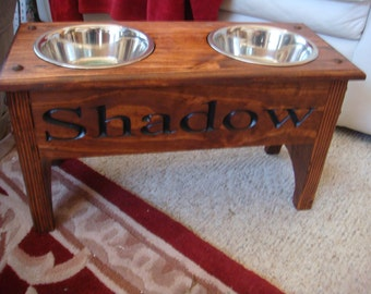 Finished Elevated Dog Feeder, with 2 quart bowls and personized with your dogs name