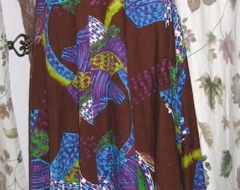 Bark Cloth Maxi Dress Atomic Print Full Skirt 70s Vintage