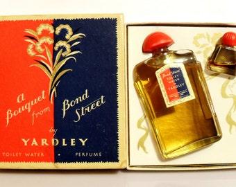 Vintage 1950s Bond Street by Yardley Toilet Water and Mini Parfum Gift Set PERFUME