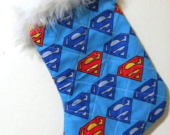Superman Logo DC Comics Superhero Christmas Holiday Quilted Stocking