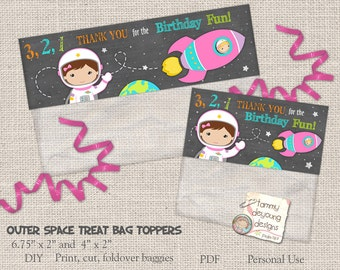 Girls Outer Space Treat Bag Toppers, Girl Astronaut Birthday Party Favors, Cosmic Birthday loot bags,  Printable goodie bags, treat holders