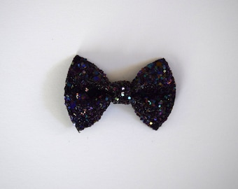 Purple Glitter TINY Alligator Clip Bow for Newborn Baby Child Little Girl Adult Photo Prop Adorable Photo Spring Summer Clip