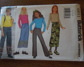 Butterick 6851, sizes 12-16, girls, childrens,teens,  top, skirt, pants, UNCUT sewing pattern