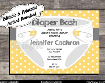 Diaper Invitation for Baby Shower or Diaper Bash Yellow - Editable Printable Digital File with Instant Download