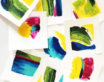 Original acrylic art, spring colors, square art, colors of spring, living room art, dining room art, original art set