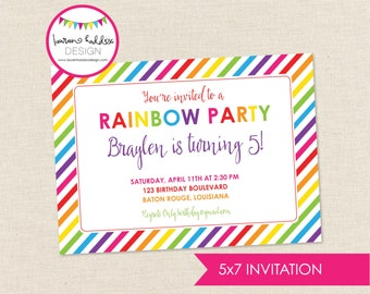 Rainbow Birthday Invitation, Rainbow Birthday, Rainbow Printables, Rainbow Birthday Decorations, Lauren Haddox Designs