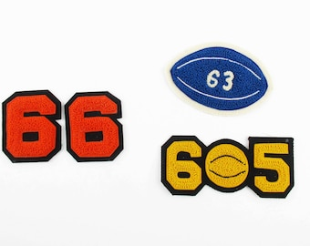 Your CHOICE - Chenille Numbers for Shirts/Hats/Sweaters/Jackets - Classic Letter Sweater Stuff - '6' and '9' - '65 Football' - '63 Football'