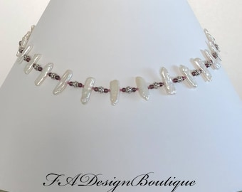 White freshwater pearls, Red garnet and Sterling Silver Necklace