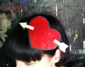 Sparkle Vinyl Heart and Arrow Headband - Perfect for your Valentines Ensemble