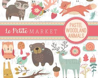 Cute Woodland Clipart Set, Pastel Woodland Animals Clip Art, Forest Creatures Clipart Designs, Bear Deer Fox Raccoon Owl, LePetiteMarket